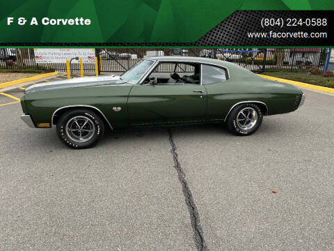 1970 Chevrolet Chevelle for sale at F & A Corvette in Colonial Beach VA