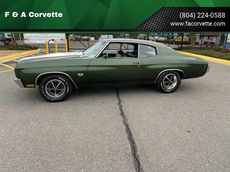 1970 Chevrolet Chevelle for sale at F & A Corvette in Colonial Beach VA