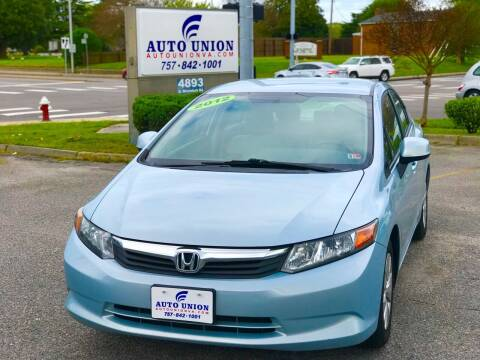 2012 Honda Civic for sale at Auto Union LLC in Virginia Beach VA