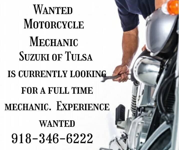 MotorcycleMechanicNeeded FullTimeMechanic  for sale at Suzuki of Tulsa in Tulsa OK
