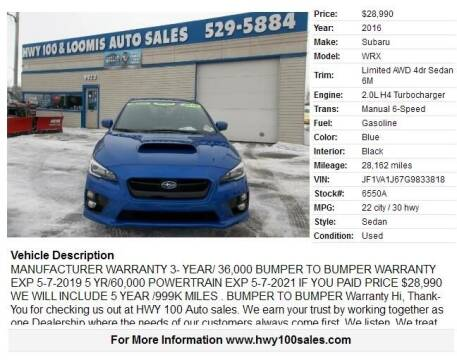 2016 Subaru WRX for sale at Highway 100 & Loomis Road Sales in Franklin WI