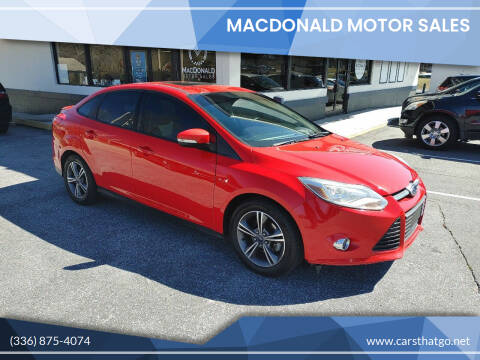 2014 Ford Focus for sale at MacDonald Motor Sales in High Point NC