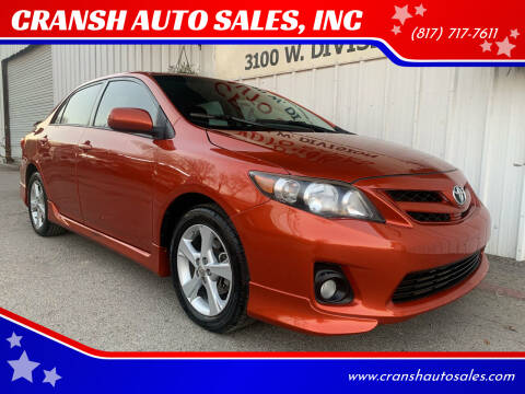 2013 Toyota Corolla for sale at CRANSH AUTO SALES, INC in Arlington TX