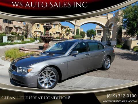 2005 BMW 7 Series for sale at WS AUTO SALES INC in El Cajon CA