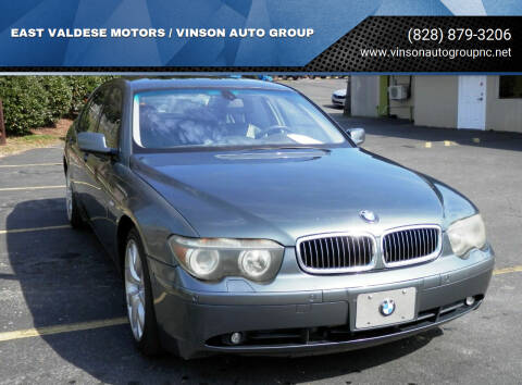 2003 BMW 7 Series for sale at EAST VALDESE MOTORS / VINSON AUTO GROUP in Valdese NC
