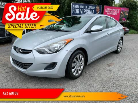 2012 Hyundai Elantra for sale at A2Z AUTOS in Charlottesville VA