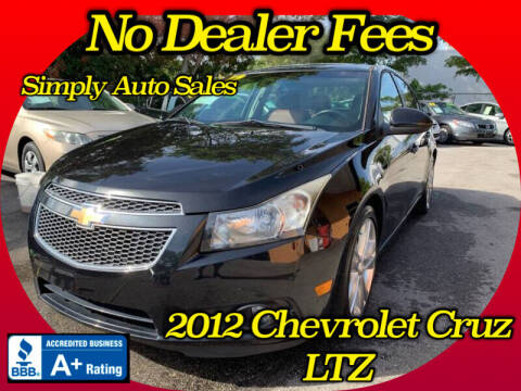 2012 Chevrolet Cruze for sale at Simply Auto Sales in Palm Beach Gardens FL