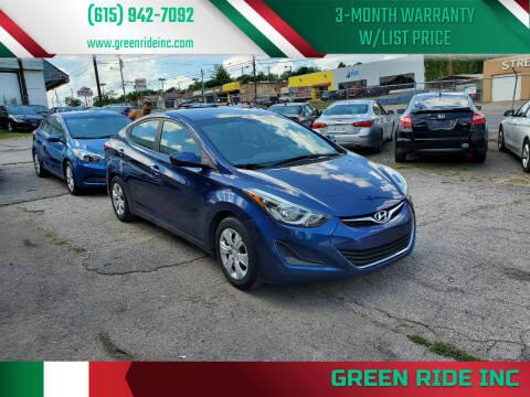 2016 Hyundai Elantra for sale at Green Ride Inc in Nashville TN