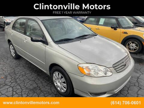 2003 Toyota Corolla for sale at Clintonville Motors in Columbus OH