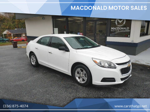 2015 Chevrolet Malibu for sale at MacDonald Motor Sales in High Point NC