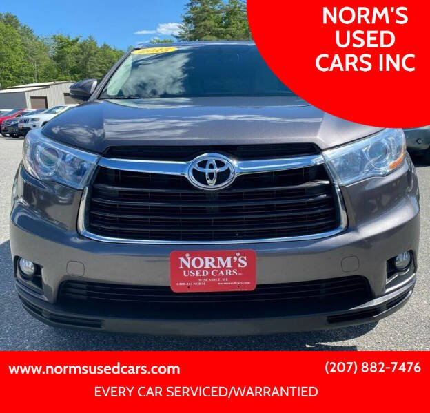 2015 Toyota Highlander for sale at NORM'S USED CARS INC in Wiscasset ME