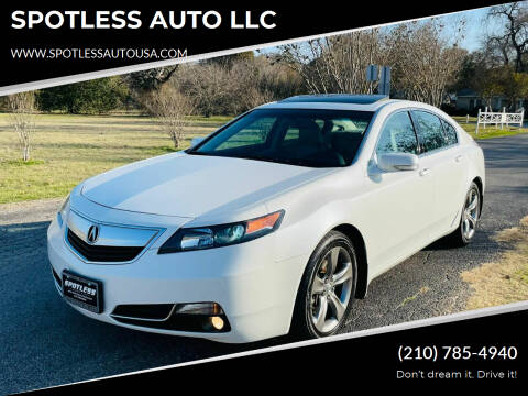 2012 Acura TL for sale at SPOTLESS AUTO LLC in San Antonio TX