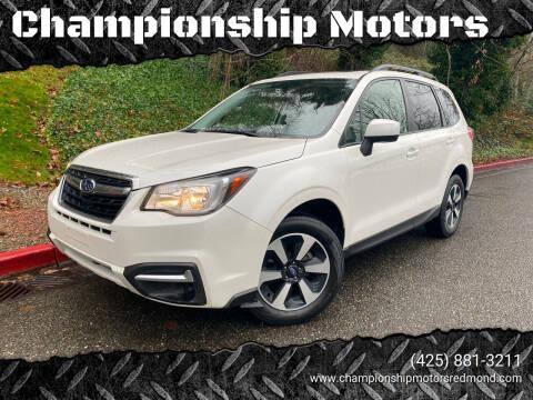 2018 Subaru Forester for sale at Championship Motors in Redmond WA