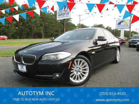 2013 BMW 5 Series for sale at AUTOTYM INC in Fredericksburg VA