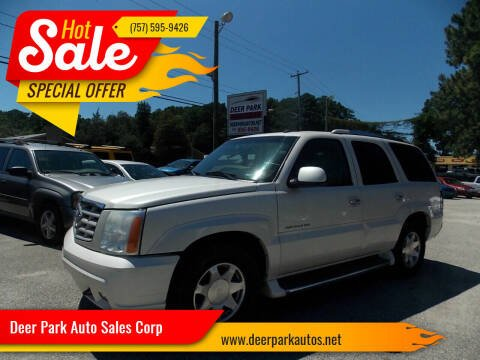 2002 Cadillac Escalade for sale at Deer Park Auto Sales Corp in Newport News VA