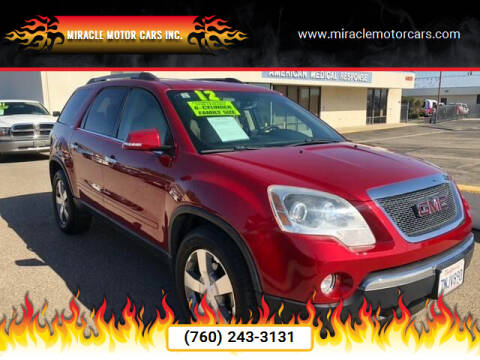 2012 GMC Acadia for sale at Miracle Motor Cars Inc. in Victorville CA