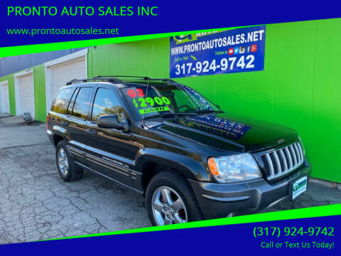 2002 Jeep Grand Cherokee for sale at PRONTO AUTO SALES INC in Indianapolis IN
