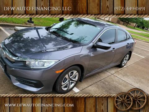 2018 Honda Civic for sale at DFW AUTO FINANCING LLC in Dallas TX