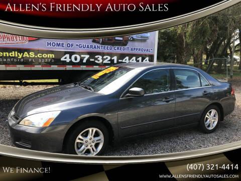 2007 Honda Accord for sale at Allen's Friendly Auto Sales in Sanford FL