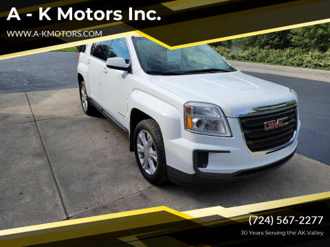 2017 GMC Terrain for sale at A - K Motors Inc. in Vandergrift PA