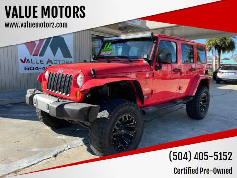 2013 Jeep Wrangler Unlimited for sale at VALUE MOTORS in Kenner LA