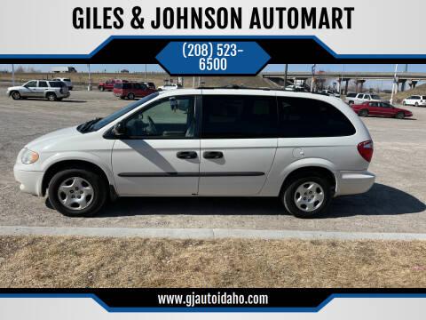 2003 Dodge Grand Caravan for sale at GILES & JOHNSON AUTOMART in Idaho Falls ID