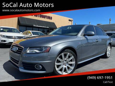2012 Audi A4 for sale at SoCal Auto Motors in Costa Mesa CA