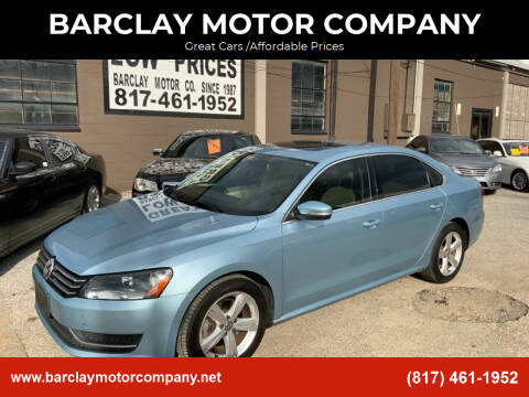 2013 Volkswagen Passat for sale at BARCLAY MOTOR COMPANY in Arlington TX