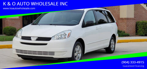2005 Toyota Sienna for sale at K & O AUTO WHOLESALE INC in Jacksonville FL