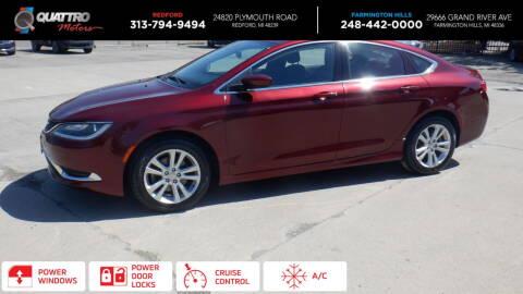 2015 Chrysler 200 for sale at Quattro Motors 2 - 1 in Redford MI