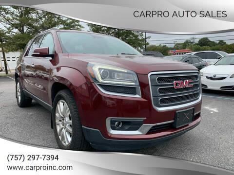 2015 GMC Acadia for sale at Carpro Auto Sales in Chesapeake VA