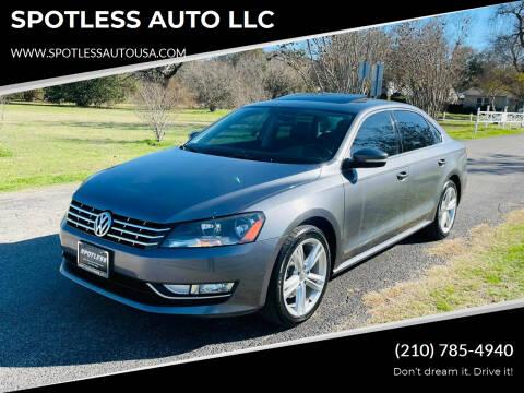 2014 Volkswagen Passat for sale at SPOTLESS AUTO LLC in San Antonio TX