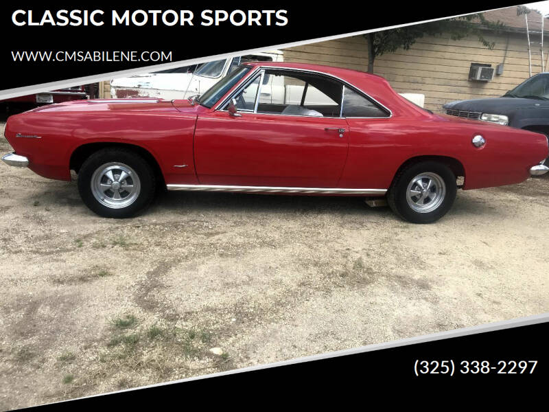 1967 Plymouth Barracuda for sale at CLASSIC MOTOR SPORTS in Winters TX