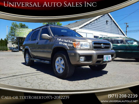 2002 Nissan Pathfinder for sale at Universal Auto Sales Inc in Salem OR