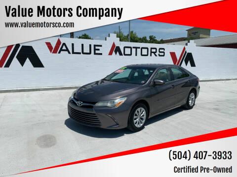 2015 Toyota Camry for sale at Value Motors Company in Marrero LA