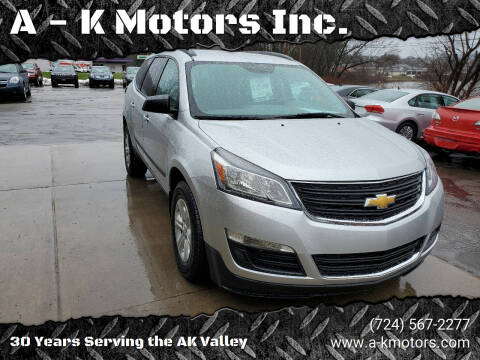 2015 Chevrolet Traverse for sale at A - K Motors Inc. in Vandergrift PA