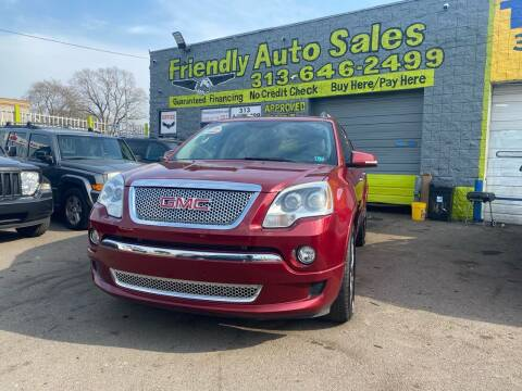2011 GMC Acadia for sale at Friendly Auto Sales in Detroit MI