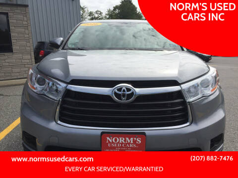 2016 Toyota Highlander for sale at NORM'S USED CARS INC in Wiscasset ME