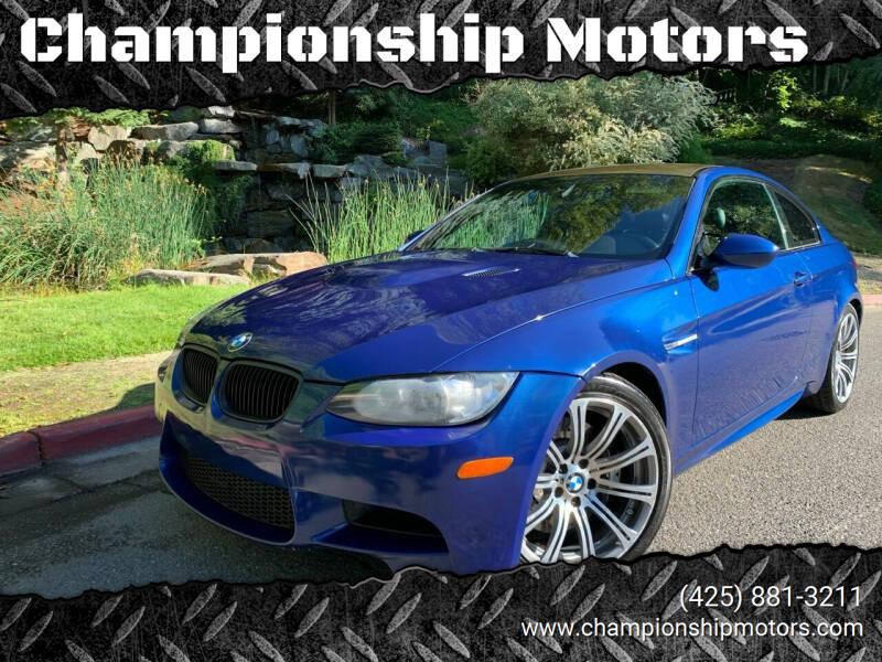 2012 BMW M3 for sale at Championship Motors in Redmond WA