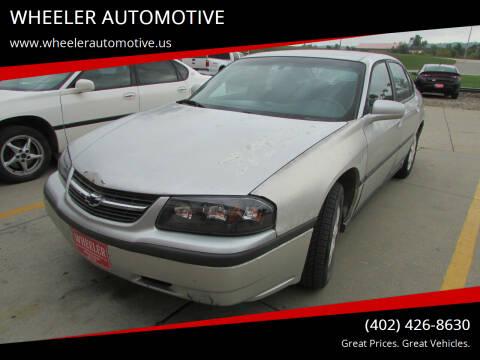 2002 Chevrolet Impala for sale at WHEELER AUTOMOTIVE in Blair NE