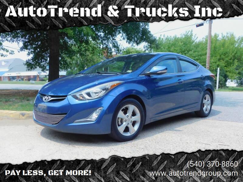 2016 Hyundai Elantra for sale at AutoTrend & Trucks Inc in Fredericksburg VA