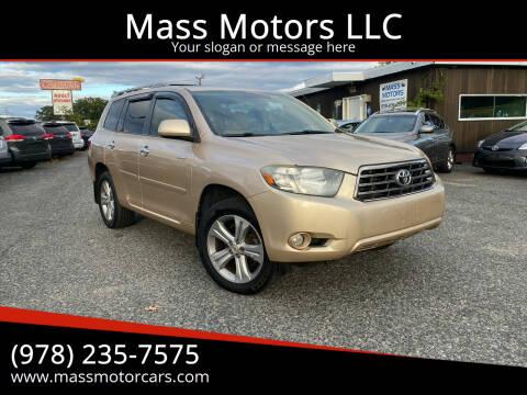 2008 Toyota Highlander for sale at Mass Motors LLC in Worcester MA