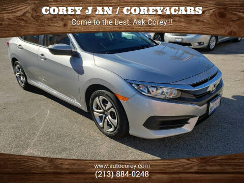 2016 Honda Civic for sale at WWW.COREY4CARS.COM / COREY J AN in Los Angeles CA