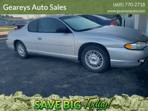 2001 Chevrolet Monte Carlo for sale at Geareys Auto Sales of Sioux Falls, LLC in Sioux Falls SD