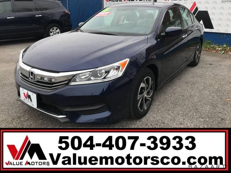 2016 Honda Accord for sale at Value Motors Company in Marrero LA