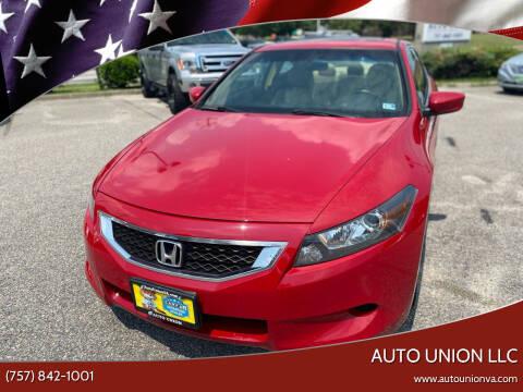 2009 Honda Accord for sale at Auto Union LLC in Virginia Beach VA