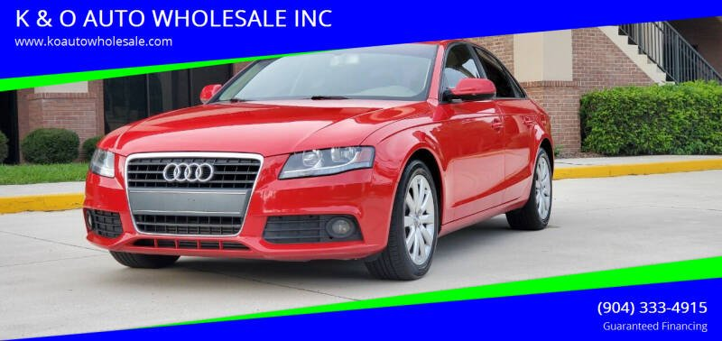 2012 Audi A4 for sale at K & O AUTO WHOLESALE INC in Jacksonville FL