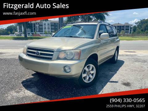 2003 Toyota Highlander for sale at Fitzgerald Auto Sales in Jacksonville FL