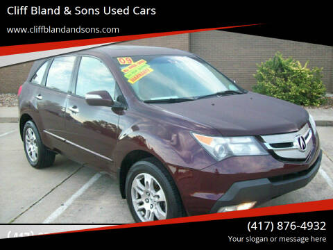 2009 Acura MDX for sale at Cliff Bland & Sons Used Cars in El Dorado Spg MO