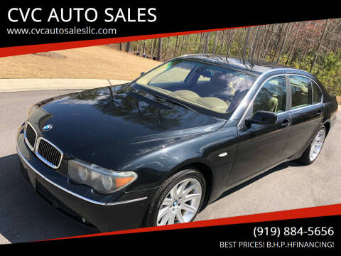 2004 BMW 7 Series for sale at CVC AUTO SALES in Durham NC